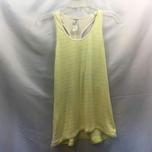 MPG Size L Yellow/Tan Striped Sports Tank Top